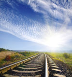 Railroad. Landscape for a old railway abandoned at the sunset Royalty Free Stock Images
