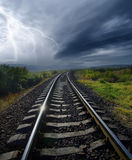 Railroad. Lightning storm over old railroad Stock Images