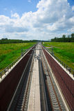 Railroad. New Railway track in a dutch landscape Stock Photography