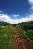 Railroad. With amazing blue sky and mountains on the horizon Royalty Free Stock Photos