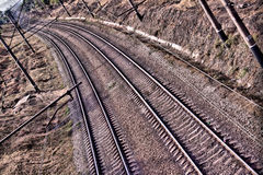 Railroad. High contrast two railroad tracks, foto was maded in raw Royalty Free Stock Image