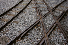 Railroad. Detail view of old railroad with crossing Royalty Free Stock Photo