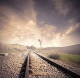 Railroad. Long railroad at the sunrise Stock Photo