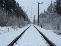 Railroad. Winter railroad Royalty Free Stock Photos