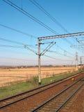 Railroad. Principal railroad in Romania, near Teius rail station Stock Photo