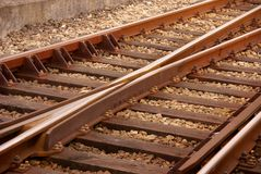 Railroad. Detail of the rails of a railroad track Royalty Free Stock Images