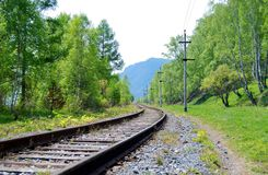 Railroad. Old railroad on the coast of Baikal lake Stock Image