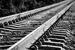 Railroad. Abstract long railroad in black and white Royalty Free Stock Photography