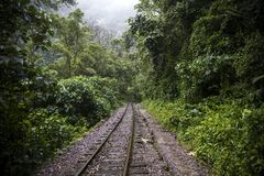 Railroad at Aguas Calientes in Peru. Railroad between Cusco and Machu Picchu at Aguas Calientes in Peru royalty free stock photography