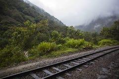Railroad at Aguas Calientes in Peru. Railroad between Cusco and Machu Picchu at Aguas Calientes in Peru royalty free stock images
