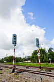 Railroad with Alarm Lights. Alarm Lights used to warn about incoming Train Royalty Free Stock Image