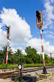 Railroad with Alarm Lights. Alarm Lights used to warn about incoming Train Stock Photography