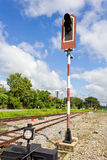 Railroad with Alarm Lights. Alarm Lights used to warn about incoming Train Royalty Free Stock Photography
