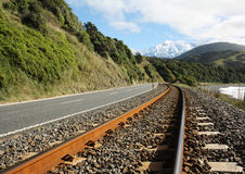 Railroad along the coast. Railroad along the East coast of New Zealand's South Island Royalty Free Stock Images