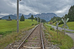 Railroad in the Alps Royalty Free Stock Photo