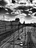 Railroad. Artistic look in black and white. Royalty Free Stock Photos
