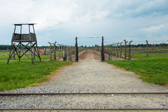Railroad in Auschwitz Royalty Free Stock Photography