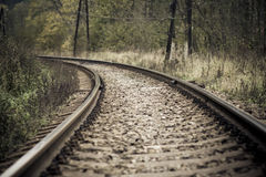 Railroad in autumn mystical weather Stock Image
