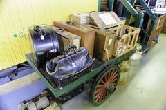 Railroad baggage cart display Stock Photo