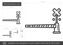 Railroad barrier line icon. Railroad barrier vector line icon isolated on white background. Railroad barrier line icon for infographic, website or app. Scalable Stock Photo
