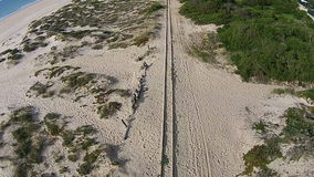 Railroad on Beach stock footage