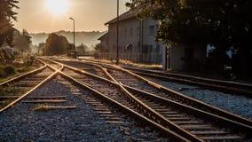 Railroad in beautifull sinris. Beautiful scene of railroad in sunrise Royalty Free Stock Image