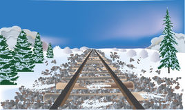 Railroad bed in winter landscape Stock Photo