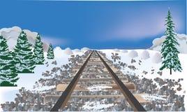 Railroad bed in winter landscape Stock Photo