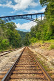 Railroad and Big Bridge Royalty Free Stock Image