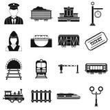 Railroad black simple icons set. On white background Royalty Free Stock Photo