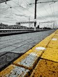 railroad in black and yellow royalty free stock images
