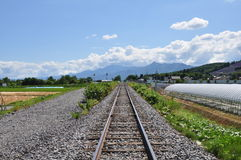 Railroad and blue sky. Stock Images