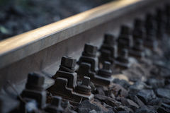 Railroad bolts. Close up view of railroad bolts Stock Photography