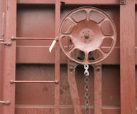 Railroad Boxcar Hand Brake Adjustment Wheel Cargo Transporter Stock Image