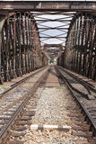Railroad bridge. Old rusty steel railroad bridge Stock Images