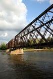Railroad bridge. Old steel railroad bridge spanning the illinois river Royalty Free Stock Photography