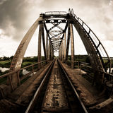 Railroad Bridge. Fisheye photo, Lithuania Stock Images