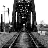 Railroad Bridge. Black and White photo of a railroad bridge stock images