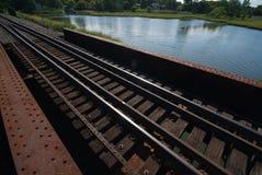 Railroad bridge. And tracks in natural environment royalty free stock photo