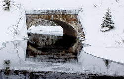 Railroad Bridge. A railroad bridge over Root River in Algoma, Ontario on a crisp winter day Royalty Free Stock Photo