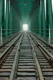 Railroad Bridge. A direct centered view at the inside of a railroad bridge Stock Photo