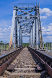 Railroad bridge against the nature. In sunny day royalty free stock image