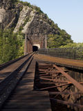 Railroad Bridge along the Appalachian Trail. This is a deactivated railroad line along the Appalachian Trail with the pedestrian walkway to the right of the royalty free stock photography