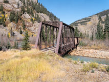 Railroad bridge on the Animas River Stock Photo