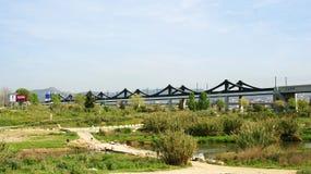 Railroad Bridge at the Delta del Llobregat Royalty Free Stock Images