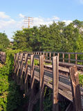 Railroad bridge in disrepair. A wooden railroad bridge that is overgrown with vines and is beginning to fall apart Royalty Free Stock Image