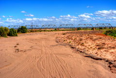 Railroad Bridge Gila River Arizona. Railroad bridge Dry Gila river bed Sonora desert in central Arizona USA Royalty Free Stock Photography
