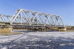 Railroad bridge with ice. And snow stock image