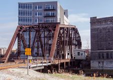 Railroad Bridge. An iron railroad bridge spanning the Milwaukee River in downtown Milwaukee, Wisconsin Stock Photography