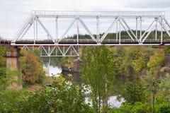 Railroad bridge in Korosten, Ukraine. The railway bridge and Uzh River in Korosten, Ukraine Royalty Free Stock Images